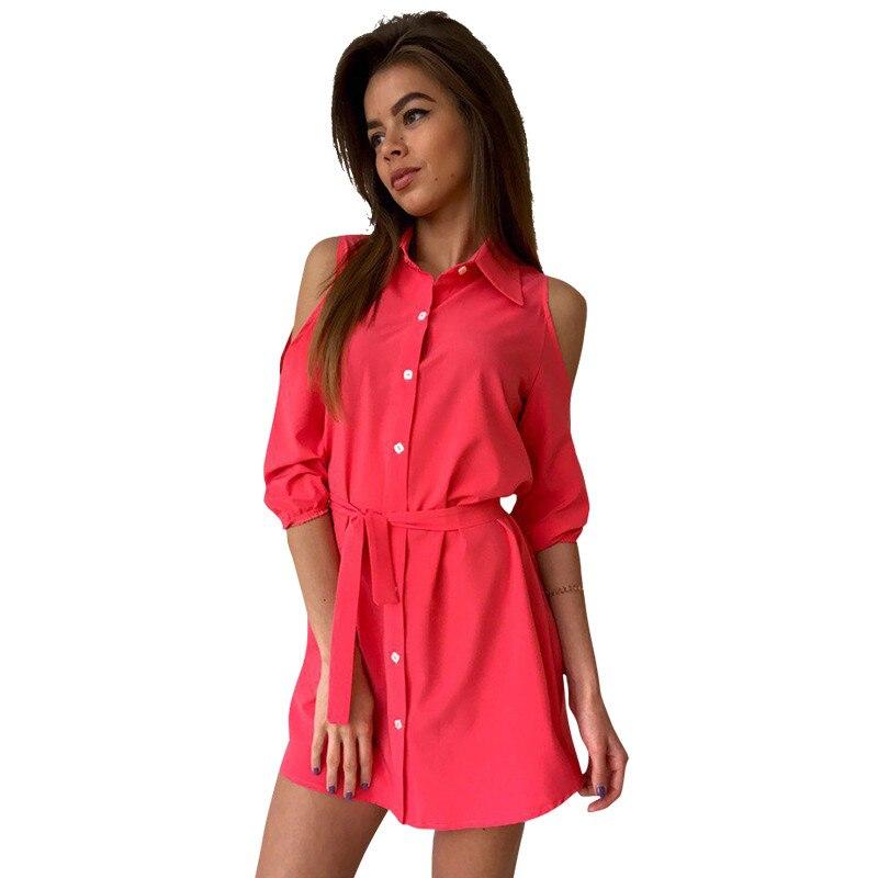 Fashion Shirt Dress Women Sexy Mini Dress Cold Shoulder Women Dress Bandage Turn Down Collar Slim Button Casual Dress LJ5009E