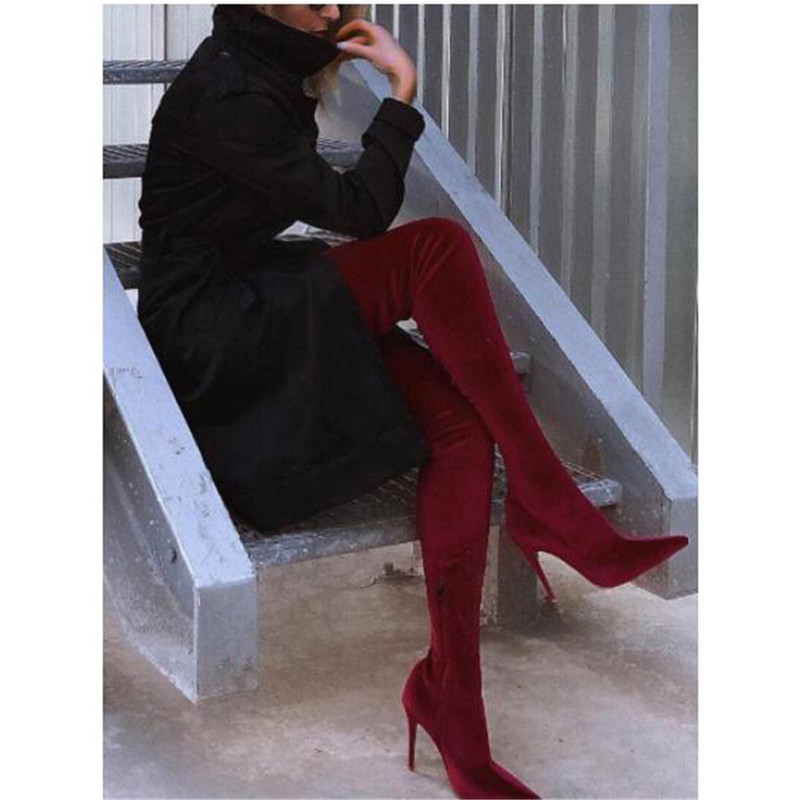 Oberschenkel Stiefel Red Über Blau Blue Seite Spitz Frauen wine Wildleder Knie Schuhe Stilettos green Gladiator Kleid Party Hohe Zipper Mode Royal xHECBqwx