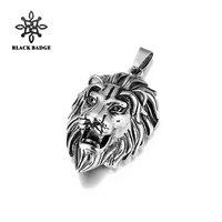 Animale Testa di Leone Pendente Per Gli Uomini In Acciaio Inossidabile 316L Argento nero Collana Con Catena e Charm Hip Hop Moda di Alta Qualità gioielli