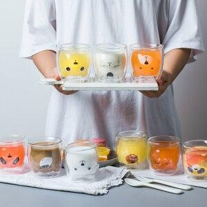 Image 3 - 250ML yaratıcı ayı kahve kupa sevimli hayvan çift cam kahve fincanı karikatür şeffaf süt kupalar bayan kahve fincanları çocuk hediye