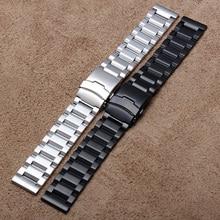 Nouveau Haute Qualité Montres bande en acier Inoxydable Bracelet en métal bracelet papillon boucle Argent Noir largeur 18mm 20mm 22mm 24mm