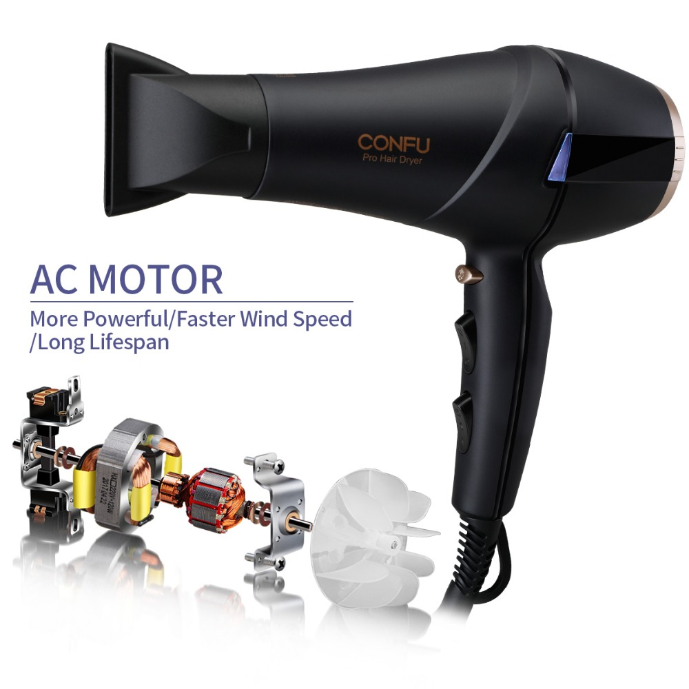 CONFU Professional long-life AC motor hair dryer 240V 50Hz 2300W IONIC function + two professional concentrators hair dryer