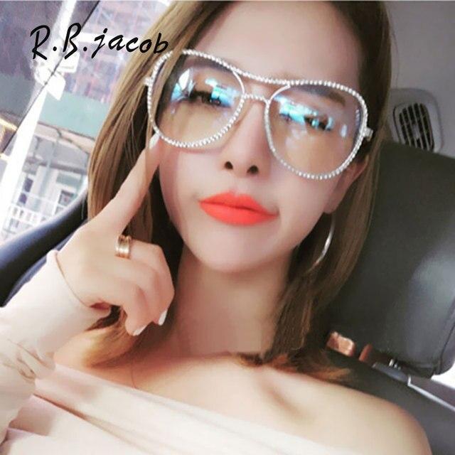 308b8434d الفاخرة نظارات المرأة معدنية الإطار واضحة عدسة البصريات النظارات كبيرة  الحجم نظارات الماس شفافة النظارات الرجعية
