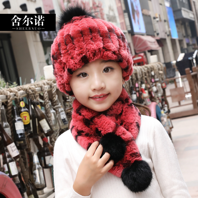 Fur Beaver Rabbit Fur Children's Hat Scarf Two Suit Winter Warm 1-10 Years Old Baby Lovely Men And Women Universal