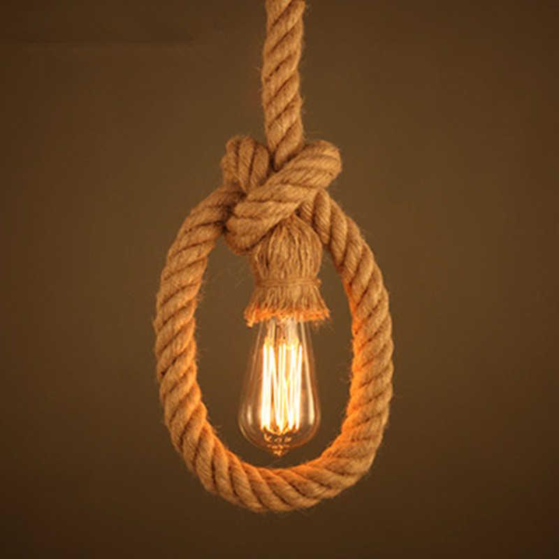 Нордическая пеньковая веревка подвесной светильник Ретро промышленная декоративная подвесная панель освещения американская железная Светодиодная лампа для ресторана