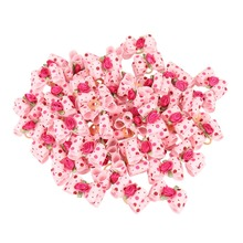 50pcs Wholesale Rose Flower Dog Bows Hair Accessories Pink Ribbon Bowknots with Dots Rubber Bands Included Pet