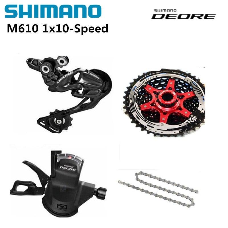 Groupe vélo Shimano DEORE M610 1x10 S 10 S vitesse 11-42 T vtt avec levier de manette de vitesse et dérailleur arrière et chaîne et Cassette Sunrace