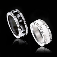 Luxlury white black AAA ceramic rings for women personalized index ceramic ring 2017 fashion relica jewelry for women men ring