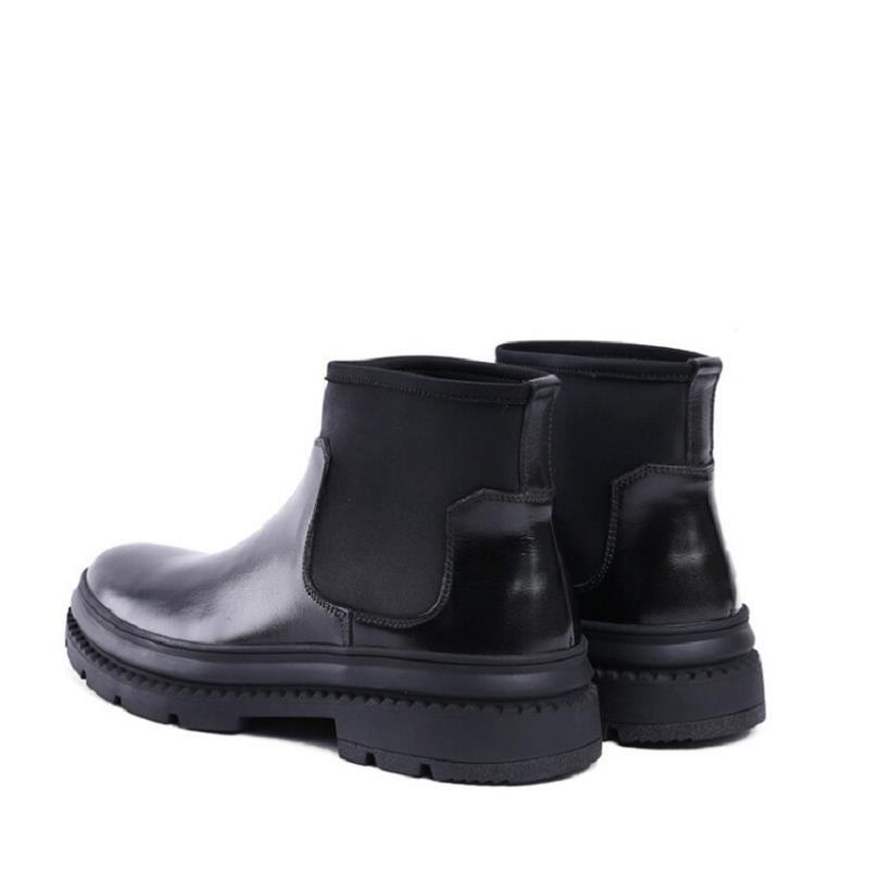 Botas Masculina Hombre Estilo Cómoda Negro Casuales Moda Slip Tobillo Nuevo De Suela on Gruesa Mycolen Británico Chelsea Zapatos BwHF4qS