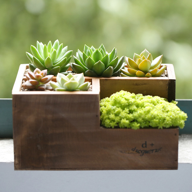 Aliexpresscom Buy Wood Mini Flowerpots Creative Letter Planter