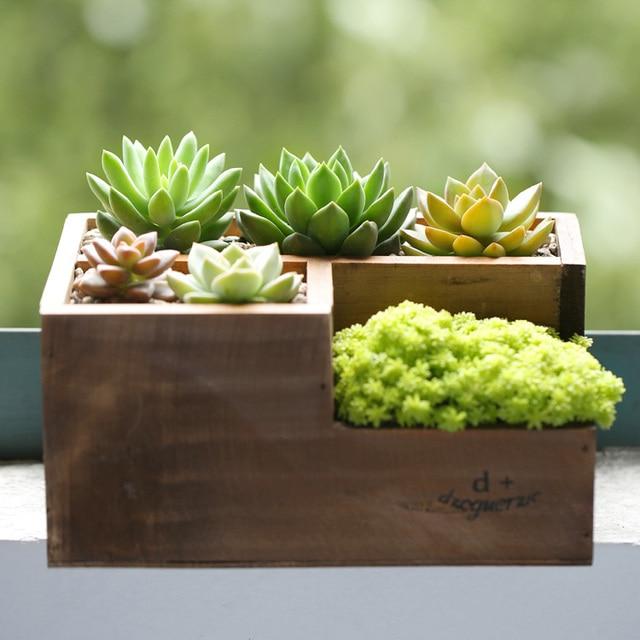 Aliexpresscom Buy Wood Mini Flowerpots Creative Letter Planter
