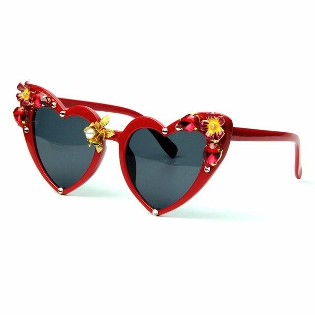 fd05a77f719 2018 Luxury Sunglasses Women brand designer Cat Eye Sun Glasses High  Quality jewel Retro Love Heart