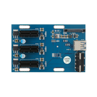 PCI E1X Expansion Kit 1 To 3 Ports Switch Multiplier HubRiser Card With USB 3 0