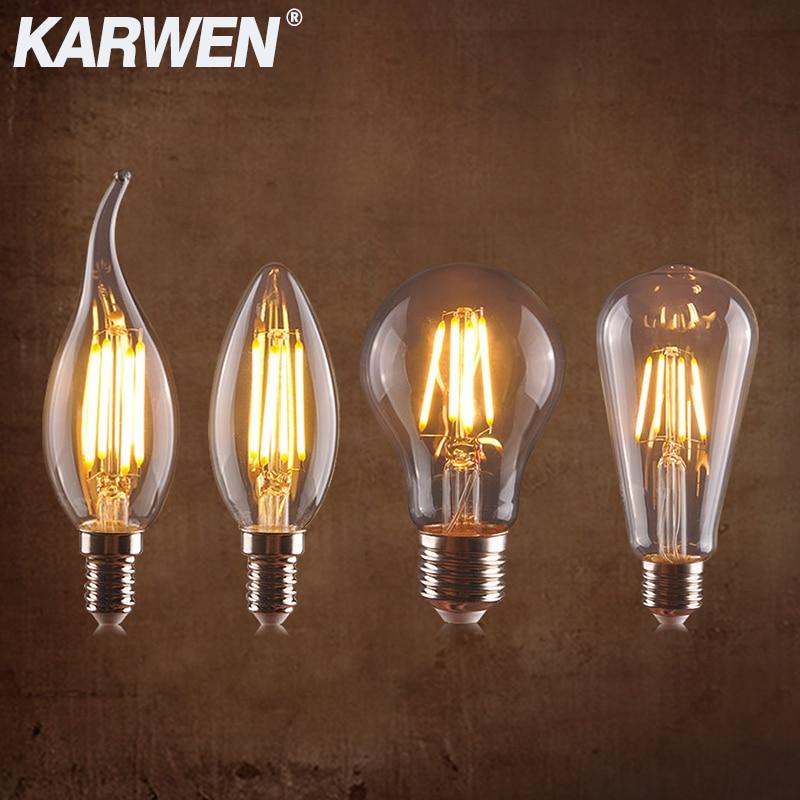 KARWEN Vintage LED Edison Bulb E27 E14 Real Watt 2W 4W 6W 8W LED Filament Light Vintage LED Bulb Lamp 220V Retro Candle Light
