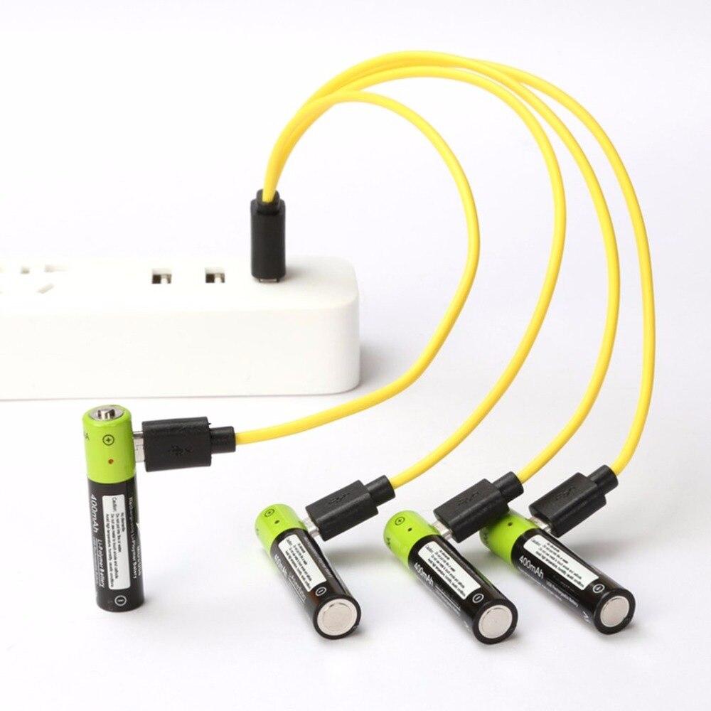 Znter 4 unids Mirco USB batería recargable AAA batería 400 mAh AAA 1.5 V Juguetes control remoto baterías de polímero de litio batería