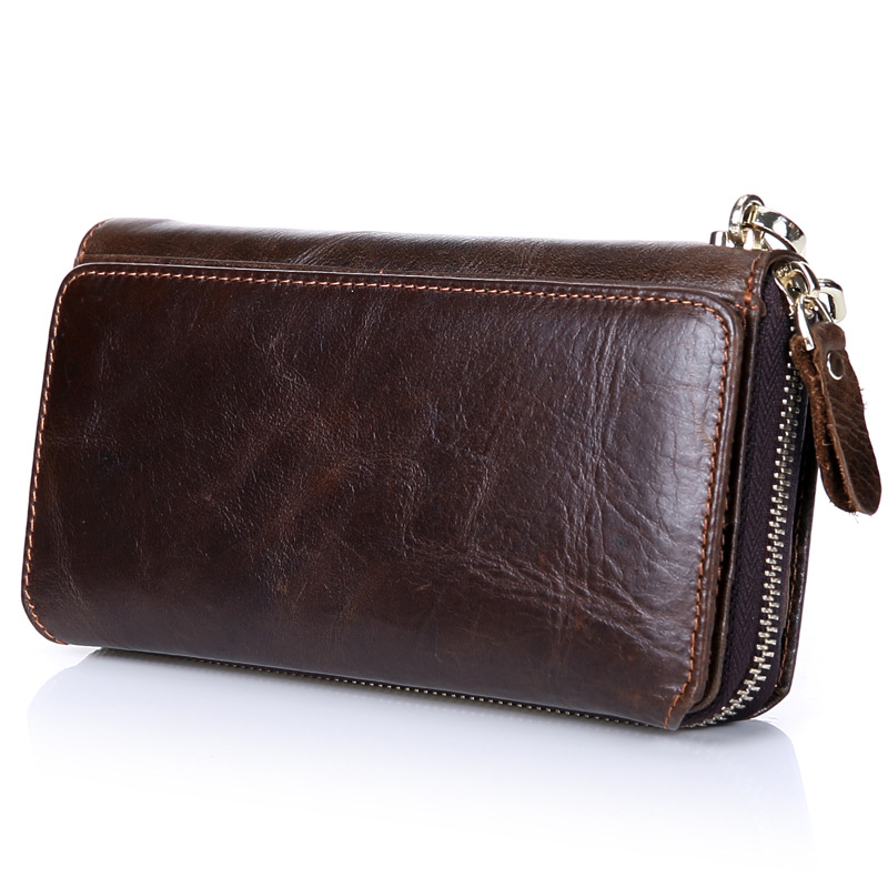 Genuine Leather Men Wallets Long Zipper Men Clutch Bags Large Capacity Male Wallet Business Card Holder Cell Phone Pocket Bags feidikabolo brand zipper men wallets with phone bag pu leather clutch wallet large capacity casual long business men s wallets