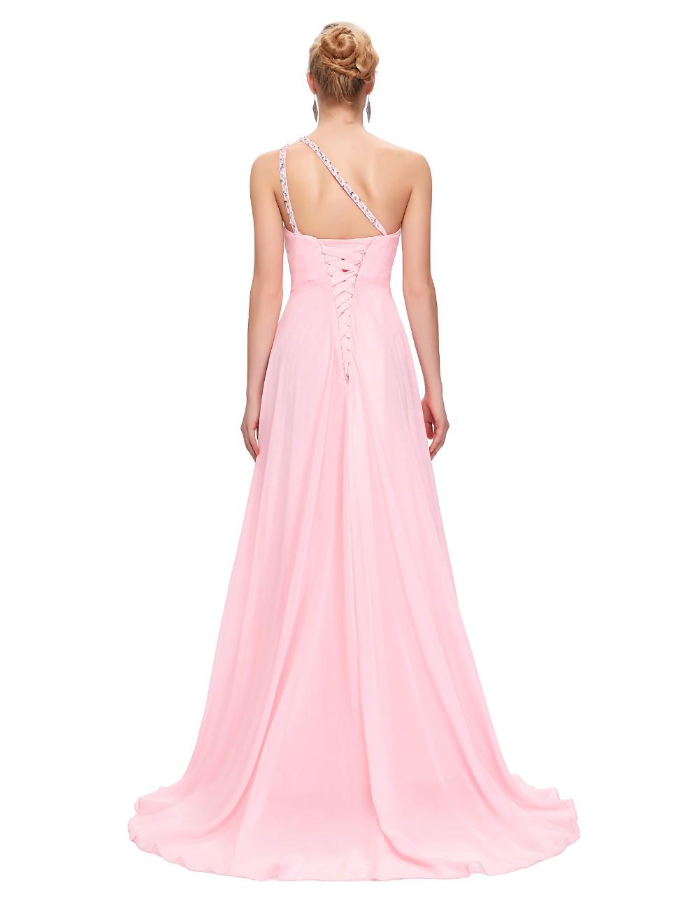 Modest barato Vestidos de dama de honor Bajo 50, gasa un hombro Rosa ...