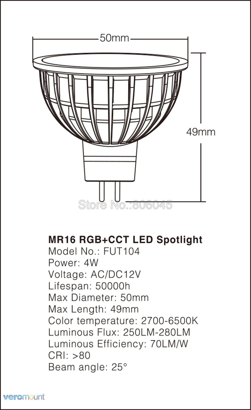 smart wifi led spotlight fut103 2.4g rf controle remoto sem fio