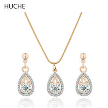 HUCHE Water Drop Pendant Necklace Earring Set Women Gold Platinum Plated Crystal Zircon Jewelry Set Costume Jewellery T014