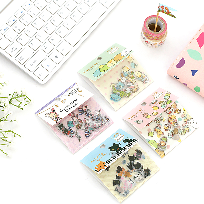 80pcs/set Cute Cat Stickers Kawaii Animal Stationery Stickers Bullet Journal Stickers For Kids DIY Diary Scrapbooking  Decor