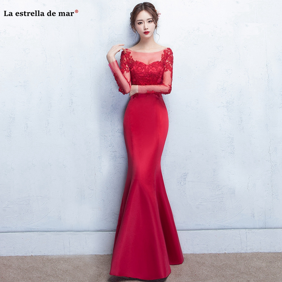robe demoiselle d'honneur pour femme 2019 new Scoop neck lace satin long sleeve sexy mermaid burgundy   bridesmaid     dresses   long