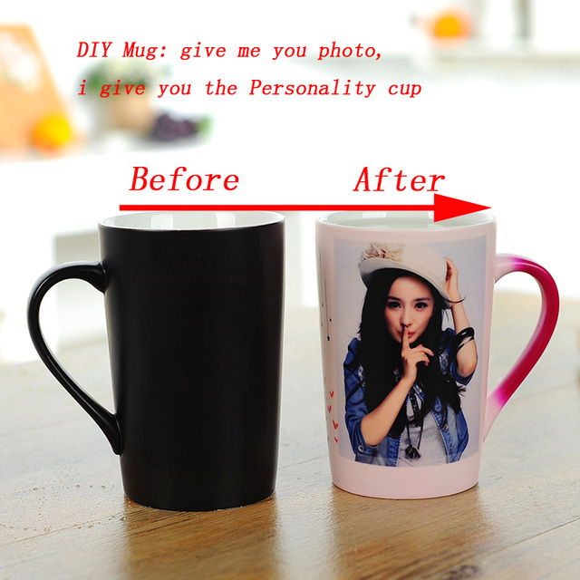 Magic Tricks Change Colour Coffee Mug Creative  Ceramic tea Cup DIY Craft Creative Gifts Wedding Gifts Customize your own mug