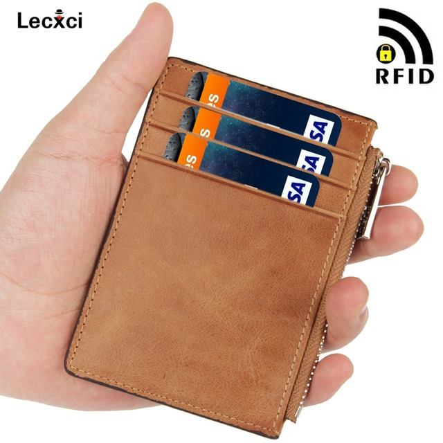 Lecxci RFID Blocking Leather Front Pocket Credit Card Holder Case Wallet for Men