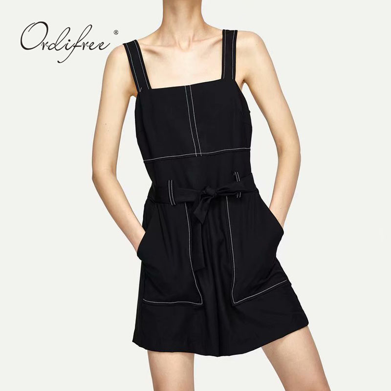 Ordifree 2018 Summer Women Casual Jumpsuit Rompers Playsuit Belted Black Sexy Jumpsuit