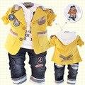 Мальчик Новый 2014 Корейский Младенца Боди Детская Одежда Хлопок 3 цветов Бесплатная Доставка