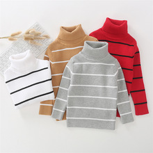 Fashion 1-6Y Stripe Warm Baby Sweater Solid Color Cotton Boys Sweaters Soft Breathable Pollover Knitted Tops Autumn Kids Clothes