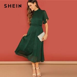 Image 4 - SHEIN Weekend Casual Green Flutter Sleeve Short Sleeve Split Tie Back Solid Stand Collar Dress Women Autumn Elegant Dress