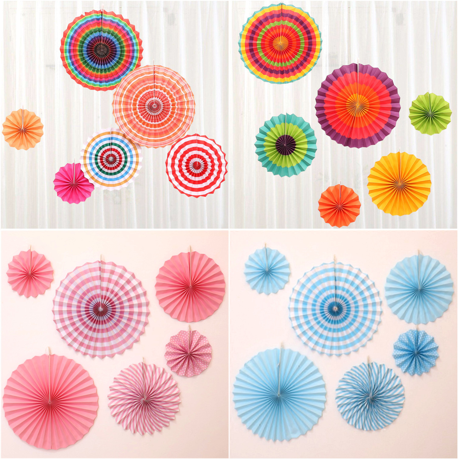 6pcs Paper Fan Flowers Wedding Baby Birthday Party Tissue Paper