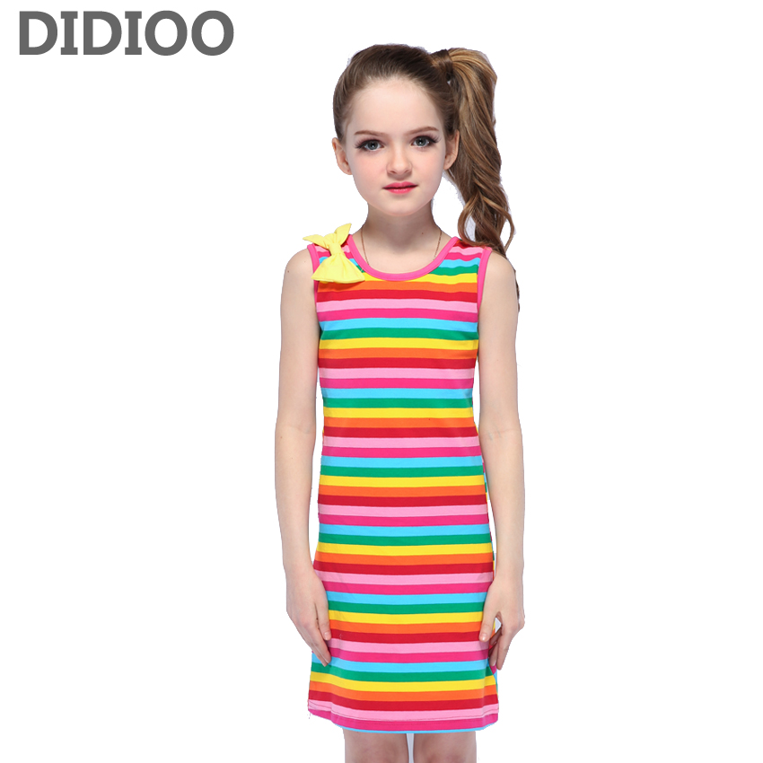 Girls Dresses Summer Kids Sleeveless Cotton Dress Children Stripe Clothes Infant Vestidos Sundress 8 9 10 Years Girls Vest Dress 2016 new girls dress cotton summer style sleeveless children dress party dresses for 2 7 years kids toddler vestidos kf509