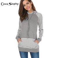 Cova Sophy 2017 Autumn Winter Female Long Sleeve Blouse High Street Striped Hooded Patchwork Casual Tops