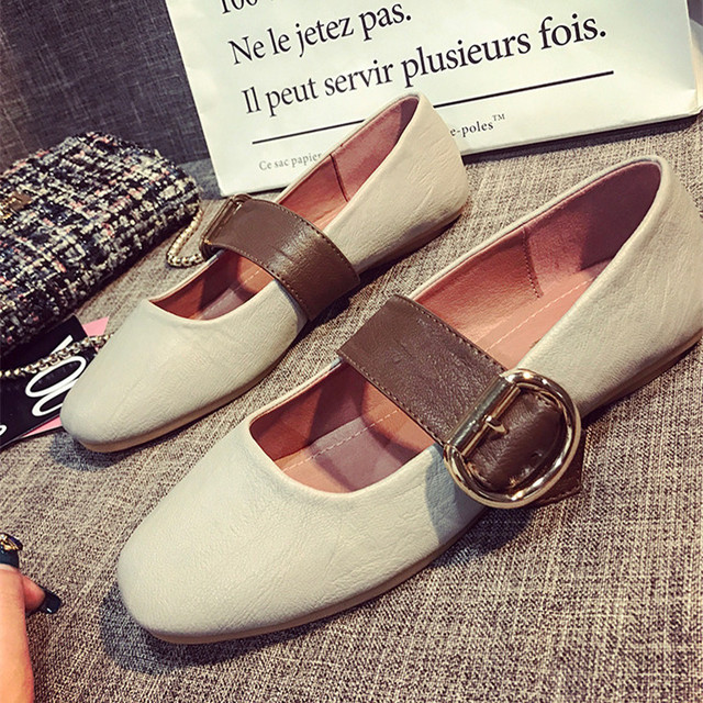 New Europe Style Buckle OL Flats Woman Summer 2017 Brand Plain Shoes Ladies  Flat Heels Comfortable
