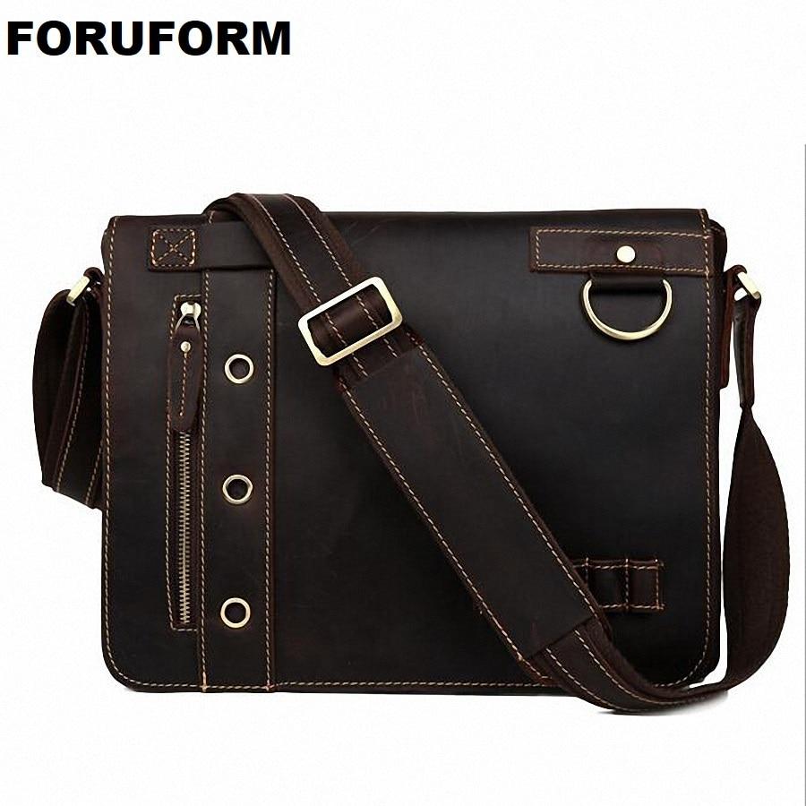 ForUForM Vintage Crazy Horse Genuine Leather Men's Messenger Bag Man business Shoulder Bag 13 inch laptop school Bag LI-1826