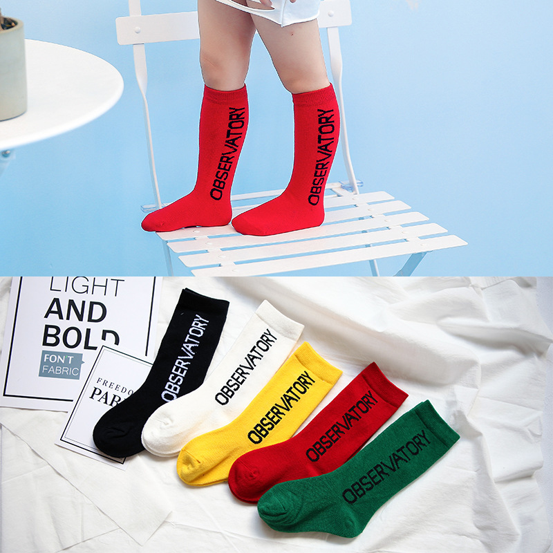 Children Knee Socks Made By Pure Cotton With Beautiful Color And Letters Great Sports Casual Socks For 1-9T Boys And Girls