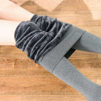 Inverno feminino lã collants algodão meia-calça alta elástica grossa quente calças femininas plus size collant elástico meias