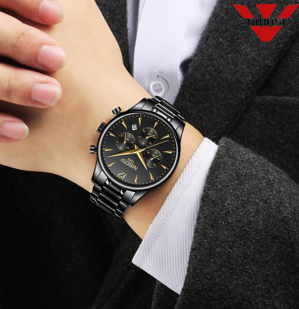 все цены на NIBOSI Relogio Masculino Men Top Luxury Brand Military Sport Watch Men's Quartz Clock Male Full Steel Casual Business Watch