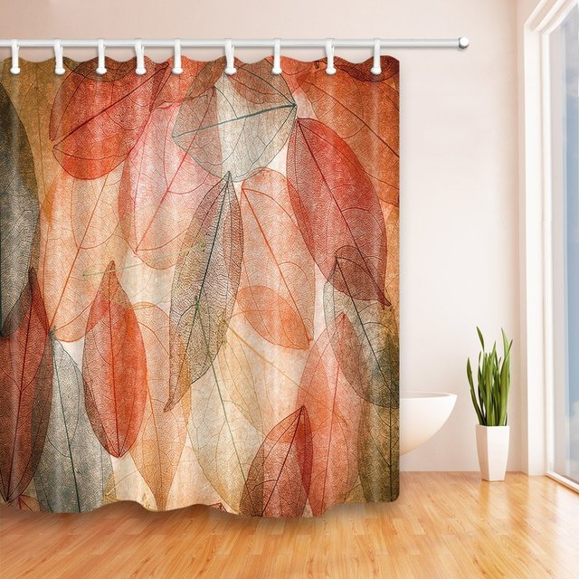 Red Big Leaves Bath Curtain 69X70 Inches Mildew Resistant Polyester Fabric Shower Set Fantastic Decorations