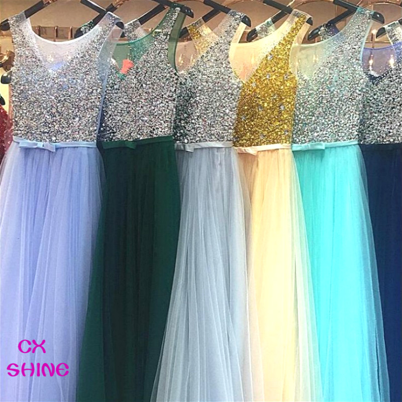 Buy Cheap CX SHINE Custom Color Pink Blue Purple beading sequins long evening dresses robe de soiree prom party runway dresses Vestidos