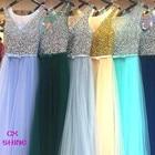 Save 11.98 on CX SHINE Custom Color Pink Blue Purple beading sequins long evening dresses robe de soiree prom party runway dresses Vestidos