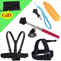 Monopod Tripod Mount Adapter + Float Bobber Handheld Stick + Chest Belt + Head Strap For ALL Gopro Hero 5 SJ4000 Accessories