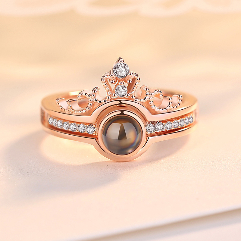 2 en 1 je t/'aime 100 langues Light projection Crown Finger Ring Jewelry New