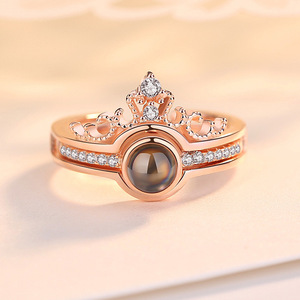 """Image 4 - Rose Gold 100 Languages """"I Love You"""" Memory Crown Couple Rings New Engagement Wedding Ring Set 925 Sterling Silver Women Jewelry"""