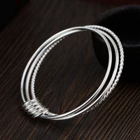 d23f9da87086 Real 925 Sterling Silver Bangle Bracelet Trendy Three Layers Design Slim  Bracelet For Women Girl Fashion. Pulsera y brazalete de Plata ...