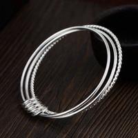 d23f9da87086 Real 925 Sterling Silver Bangle Bracelet Trendy Three Layers Design Slim  Bracelet For Women Girl Fashion. Pulsera y brazalete de Plata ...