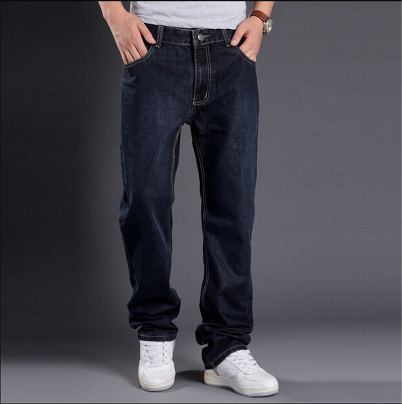 ФОТО Hip Hop Jeans Men 2016 New Fashion Blue Jeans Baggy Loose Fit Hiphop Skateboarder Jeans Free Shipping Size 29-48
