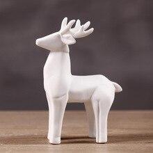 Nordic Style White Deer Ceramic Sculpture Modern Simple Statue Home Decoration Accessories Ornaments Desktop Crafts 140