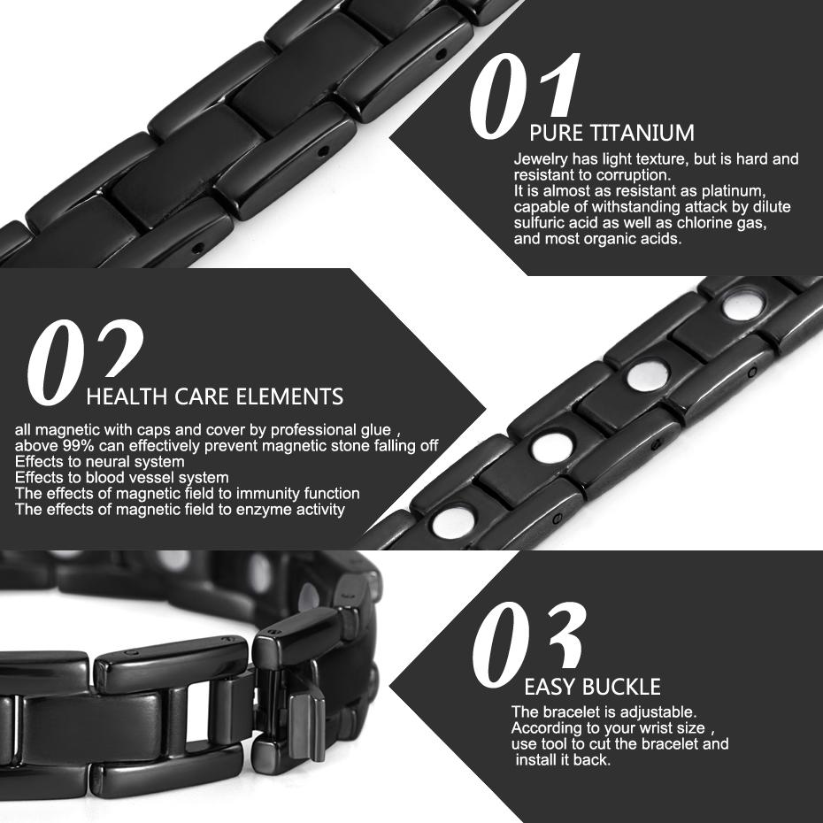 Титановый энергетический магнитный браслет бренда welmag черный
